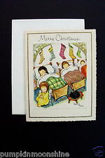 Vintage Unused Xmas Greeting Card Children Sleeping in a Row with Angel Nearby
