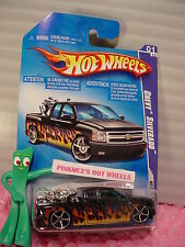 2009 i Hot Wheels CHEVY SILVERADO #117/166~Black;Flames; w/motorcycle∞Heat Fleet