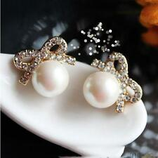 Korean Women Crystal Pearl Ear Studs Rhinestone Bowknot Big Pearl Chic Earrings