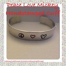 Handmade Disney Peace Love Mickey  Hand Stamped Cuff Gift Geeky Hypoallergenic