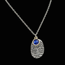 Fashion birthstones Pendant Necklace Chain Family Tree Engraved Special Words @7