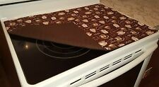 Chocolate Brown Coffee Themed Glass Stove top / Cook top Cover & Protector