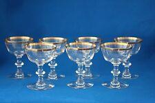VINTAGE TIFFIN AUREOLA SHERBET/CHAMPAGNE  GLASSES WITH GOLD RIM LOT OF 7