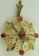 Antique Victorian 9ct Solid Gold Starburst Holbein Pendant Brooch