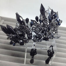 Vintage Wedding Bridal Black Crystal Queen Crown Tiara Earrings Jewelry Set Gift