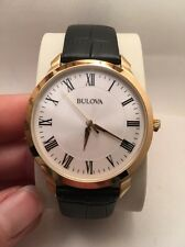 New Bulova 97A123 Stainless Gold Tone Genuine Black Leather Strap Men's Watch-HZ