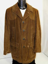 Vtg Men Brown WIDE WALE HUNTING Jacket Cord Leather SHOOTING CAR Chore Coat M