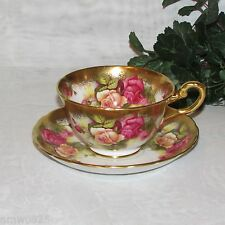 ROYAL CHELSEA GOLDEN ROSE CUP & SAUCER VINTAGE ENGLISH BONE CHINA VINTAGE GOLD