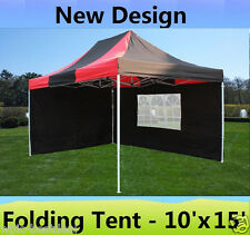 10' x 15' Pop Up Canopy Party Tent Gazebo EZ - Black Red - E Model