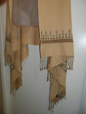 Pashmina Cashmere Shawl Wrap Silver Sequin Nude Beige Embroided Fringe Party