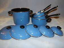 10-piece Blue Cookware Set Pots with Lids - SAN IGNACIO ESMALTACIONES - SPAIN !!
