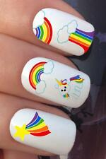 WATER NAIL TRANSFERS CARTOON UNICORN & RAINBOWS DECALS STICKERS *677