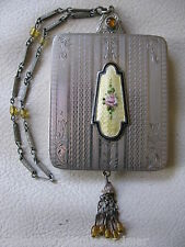 Antique Silver T Yellow Black Guilloche Enamel Jewel Bead Tassel Dance Compact