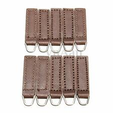 10PCS Coffee Brown PU Leather Zip Tags  Zipper Fixer Pull Tab Replacement Kit