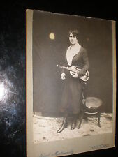 Old cabinet photograph woman violin by Mastinovsky Vysocany Czech republic 1890s