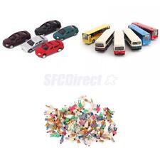 50 Painted Cars, 6 Diecast Bus, 100 People Figures Model Train Scenery N Scale