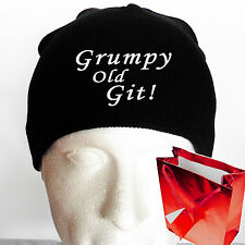 GRUMPY OLD GIT! Result Beanie Hat for Grandad / Fathers Day Gift or Retirement