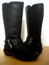 UGG~ROSEN Black Leather Wool lined winter riding boots US 6 / EU 37 1005450 NEW