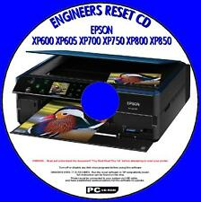 EPSON XP600 XP700 XP750 XP800 XP850 PRINTER WASTE INK PAD RESET UTILITY NEW CD