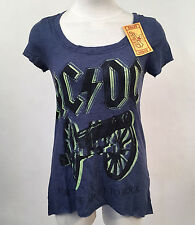 Chaser Women's T-Shirt AC/DC Double Barrel Heather Navy Size S NWT Angus Young