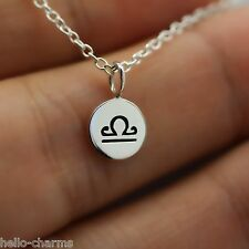 LIBRA NECKLACE - 925 Sterling Silver - Tiny Horoscope Zodiac Charm Jewelry *NEW*