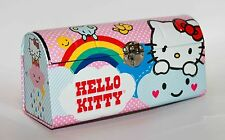 "Sanrio Hello Kitty Stationery Pencil Tin Metal Box 4x8"" 2011 Rainbow Kawaii"