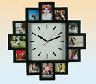 MULTI PHOTO FAMILY 12 PICTURE FRAME & TIME WALL CLOCK BLACK HANGING MODERN NEW