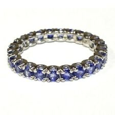 3.00 Carat Round Sapphire Claw Set Full Eternity Ring Crafted in White Gold .