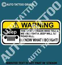 JEEP 4WD AWD WARNING DECAL STICKER FUNNY HOT ROD DRIFT WARNING DECALS STICKERS