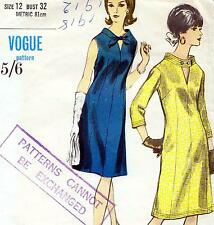 """EASY Vintage VOGUE 60s DRESS Sewing Pattern Bust 32"""" Sz 8 Cocktail EVENING Party"""