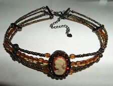 PRETTY CAMEO CHOKER NECKLACE BROWN ACRYLIC GLASS BEADS BLACK PLATED 12.5 -15.5""