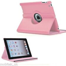 Leather Plain 360 Degrees Rotating iPad 2,3,4 Case Cover FREE Protector & Stylus