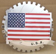 AMERICAN FLAG GRILLE BADGE CADILLAC FORD CHEVROLET HUMMER GMC JEEP