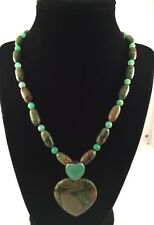 Jay King -DRT-Sterling Silver Mine Finds Green Turquoise Heart Pendant Necklace