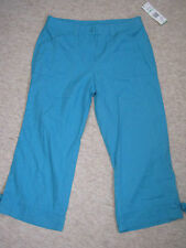 Jones New York Sport linen blend turquoise UK 12 cropped trousers RRP $64 BNWT