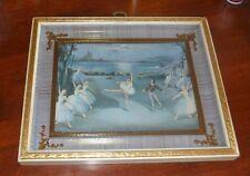 Vintage Framed Print Picture Ballet Dancers and  Ballerina Couple Dancing