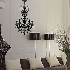 Chandelier Droplight Ceiling Lamp Wall Decal Vinyl Bedroom Living Room Black