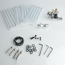 Pro 58Pcs Tattoo Complete Kits 1 Tattoo Machine Gun 20 Needles 4 Tips Silver