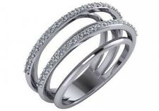 0.42 ctw F VS2 round ideal cut diamond twisted wedding ring solid 18k white gold