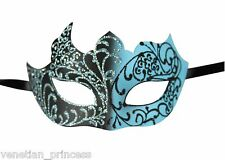 Teal Black Men's Venetian Mask Masquerade Laser Cut Mardi Gras Wedding Prom