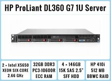 HP ProLiant DL360 G7 1U Server 2xSix-Core Xeon 2.66GHz + 32GB RAM + 4x146GB