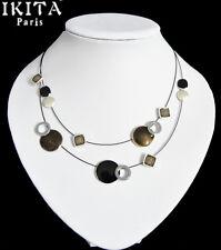 Luxus Statement Halskette IKITA Paris Kette Collier Emaille/Glas Versilbert Grau