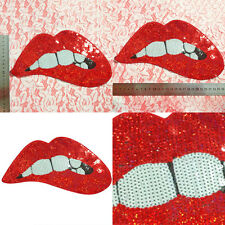 New Embroidered Iron on patches Applique Red Sequins Lips Clothing Art