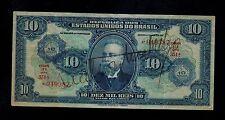BRAZIL 10 CRUZEIROS ON 10 MIL REIS  ( 1942 ) PICK # 126 VF BANKNOTE.