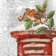 4 Single Lunch Party Paper Napkins for Decoupage Decopatch Craft Winter Bird