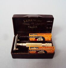 French LERESCHE #35 - safety razor open comb - 1930s - dark brown case