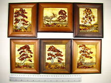 Hand Made Mosaic Baltic Amber Natural Wooden Pictures #124 LOT of 6pcs