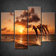 DOLPHINS SUNSET SPLIT CANVAS WALL ART PICTURES PRINTS LARGER SIZES AVAILABLE