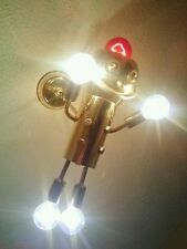 VINTAGE ROBOT ATOMIC UFO LIGHT SWAG LAMP SPUTNIK EYEBALL CHANDELIER TORINO BRASS