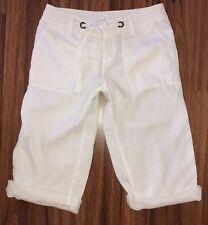 London Jeans Victoria's Secret White Linen Crop Capri Marisa Fit Beach Pants 2